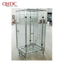 Industrial Galvanized Container Three Sided Open Front Mesh Pallet Steel Cage