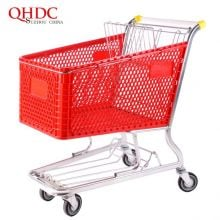 180L capacity trolley plastic shopping cart for supermarket use