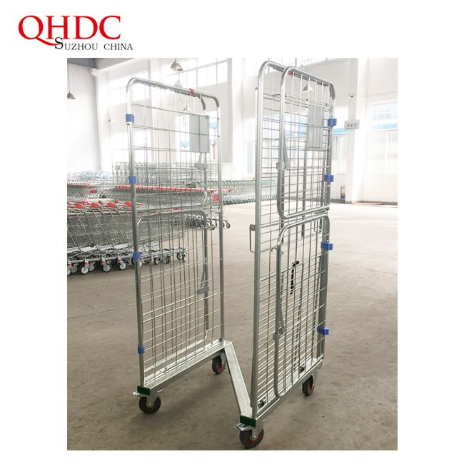 Steel Storage Trolley Galvanized Container Metal Cage Rolling Cart