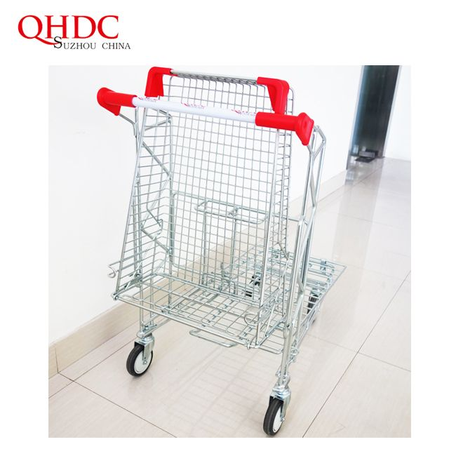 Steel Material And Mesh Structure Shopping Trolley Supermarket Carts