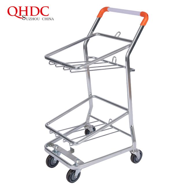 2 Tier Grocery Store Cart Marketing Trolley Supermarket Carts