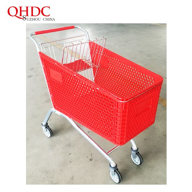 plastic shopping trolley structure super market plastic cart shopping cart